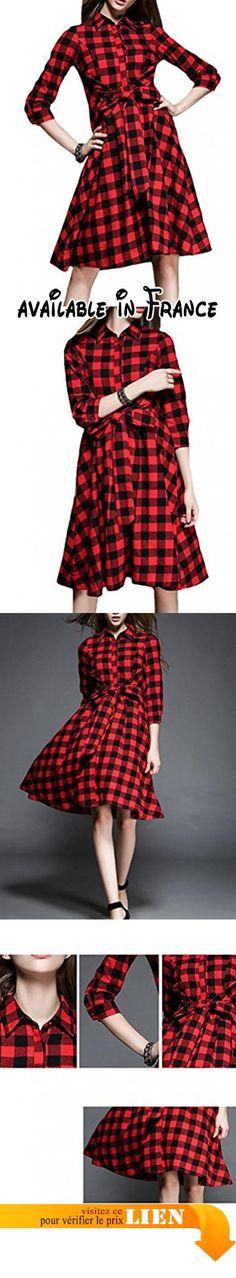 B018DZPGNY : MatchLife Femme Plaid Buton Revers Robe avec Taille Ceinture M Rouge.