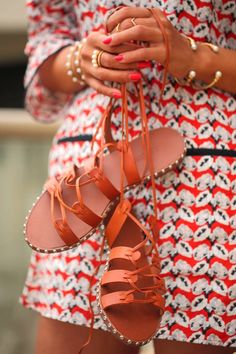 J Crew studded lace-up gladiator sandals Source