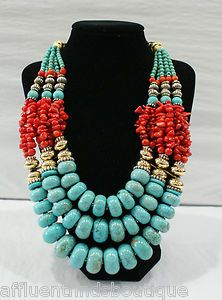 Masha Archer Turquoise Red Coral Necklace $3875 | eBay