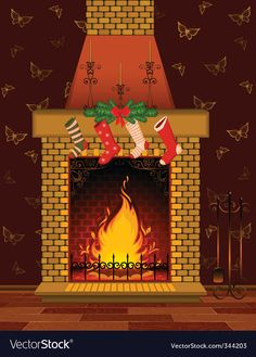 Christmas fireplace scene vector image on VectorStock Christmas Fireplace, Adobe Illustrator, Christmas Stockings, Vector Free, Scene, Illustration, Pdf, Needlepoint Christmas Stockings, Adobe Illistrator