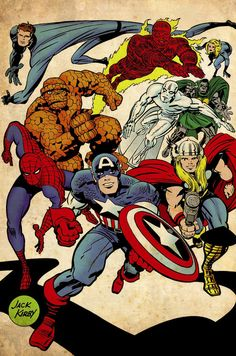 SPIDER-MAN, THE THING, THOR, SILVER SURFER, DOCTOR DOOM, MR. FANTASTIC, THE INVISIBLE GIRL, THE HUMAN TORCH AND DOCTOR DOOM - JACK KIRBY