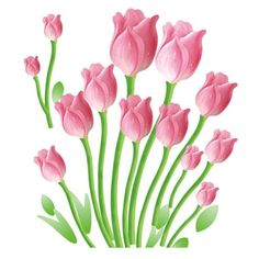 """""""Pink Tulips"""" Decorative Wall Decal"""