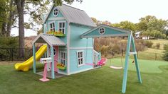 Girly Extreme Dollhouse with swing beam by ImagineThatPlayhouse, $7,345.00