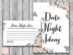 Date Night Ideas Date Night Cards Date Night Sign by BrideandBows