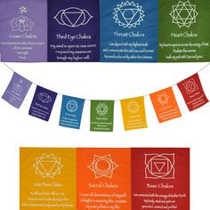 inspirational chakra flags - meditation object  Each flag is the color of the chakra it represents