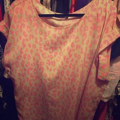 Top Beautiful tan top with bright pink cheetah print!    Bought:Khols Tops Blouses