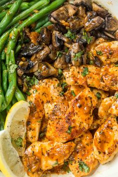 This 30-minute One Pan Lemon Chicken Breast Recipe is everything you could ask for in a quick dinner. Chicken breast in a lemon garlic butter sauce with green beans and sauteed mushrooms.