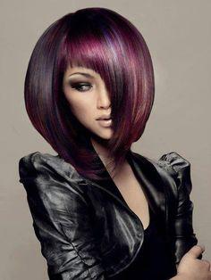 straight #bob, gorgeous cuts purple hair, hair colors, bobs, long hairstyles, blonde highlights, fashion hairstyles, beauti, hair style, bang