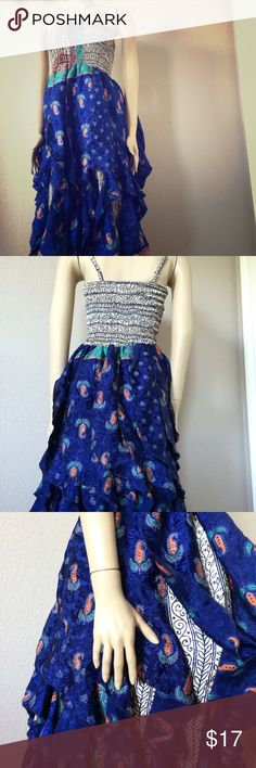 """Cute blue dress! Stretchy, elastic bust/waist section, full and fluttery skirt!!  One size fits most.  Mannequin is about a 2, I'm usually a 6 or so (34C/36B) and we both fit.  36"""" long.  Lined.  Straps are adjustable length and can even be tucked inside to wear as strapless.  So girly and fun!  NWOT! Dresses Midi"""