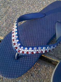 519cb091f1854c Items similar to Swarovski Flip Flops - Rhinestones   Red   Crystal   Blue  Embellished Navy Rubber Sandals