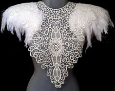 White feather epaulettes. Bridal white feather and lace collar. Feather cape alternative. 'Flora' Also in Black