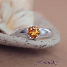 Silver Artisan Solitaire Golden Citrine Engagement Ring - November Birthstone