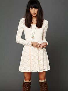 """""""Rose Garden Dress"""" by Free People - cute with boots, & comfy for a wintery wedding...?!"""