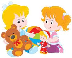 Illustration of Little girls play with toys vector art, clipart and stock vectors.