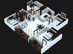 26 Stunning 3 Bedroom House Plans With Front View Design Studio Apartment Floor Plans, Garage Apartment Plans, Bedroom Floor Plans, 3d House Plans, Model House Plan, Small House Plans, Home Design Software, Home Design Plans, Free House Design