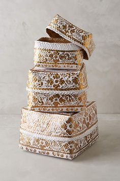 Gilded Bamboo Baskets - anthropologie.com