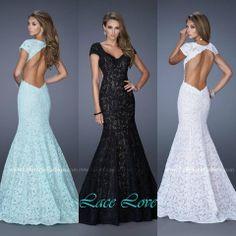 La Femme Style 20117 MInt, Black, White ~ Long Lace Dress ~ Lace Prom Dress ~ Mermaid Lace Dress ~ Open Back Lace Dress ~ Trumpet style lace gown ~ Long prom dress ~