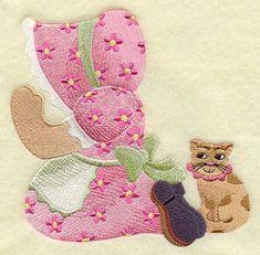 PRAYING SUNBONNET SUE - Machine Embroidery Quilt Block (AzEB)