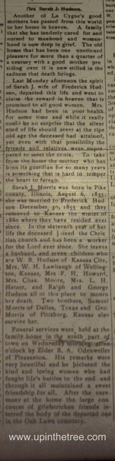 Sunday's Obituary - Sarah J Morris #geneabloggers #genealogy
