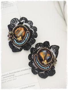 ソウタシエピアス ブラック 「送料無料」  black soutache pierce  G000060