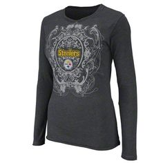 Pittsburgh Steelers Women's Coin Toss Charcoal Long Sleeve Top