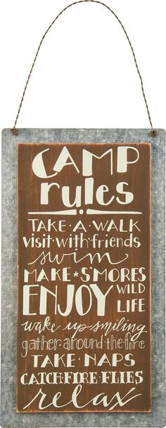 """Primitives By Kathy Sign, """"Camp Rules""""- Wood & Metal- 5.25"""" X 9.50"""""""