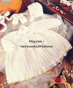 694) 0-12M, Adorable Baby Girl's Dress, Bonnet & Shoes, Vintage DK Knitting Pattern, Instant download PDF