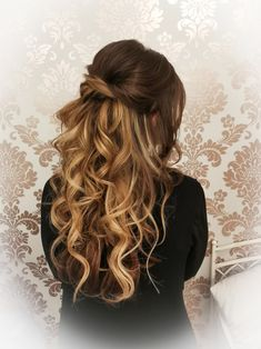Hairstyling by Christina Gubier Wedding Hairstyles Half Up Half Down, Long Hair Styles, Confirmation, Beauty, Long Hair, Long Hairstyle, Long Haircuts, Long Hair Cuts, Beauty Illustration