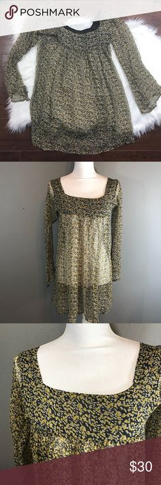 """Winter Kate Floral Long Blouse Square Neckline ▪️Details: Winter Kate Yellow Green Square Neckline Sheer Long Tunic Blouse Long Sleeve Floral Flowers, One Small Hole (Pictured) ▪️Size: S ▪️Materials: 100% Natural Vintage Silk ▪️Measurements: Length: 30"""" Pit to Pit: 15.5"""" 📍Ships from Los Angeles, CA  📬Ships within 1-2 business days  #130A Winter Kate Tops Blouses"""
