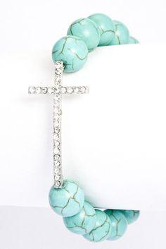 Turquoise Bead Cross Bracelet