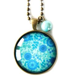 Cloud Nine Creative - Blue & Cyan Floral Necklace Floral Necklace, Blue Pearl, Floral Illustrations, Glass Domes, Ball Chain, Glass Pendants, Pocket Watch, Bling, Clouds