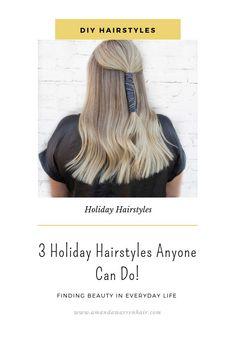 3 Holiday hairstyles anyone can do! Natural Hair Tips, Natural Hair Styles, Long Hair Styles, Holiday Hairstyles, Diy Hairstyles, Diy Hair Videos, Christmas Hair, Hallmark Movies, Hair Blog