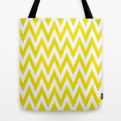 Chevronzag in Mustard Yellow Tote Bag by House of Jennifer - $22.00