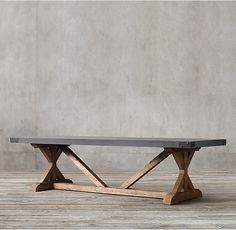 "RH's Salvaged Wood & Concrete X-Base Rectangular Dining Table:Our table pairs a 3""-thick slate grey concrete top with the natural beauty of solid salvaged pine timbers from 100-year old buildings in Great Britain."