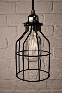 edison vintage pendant light chandelier rustic wire cage ceiling