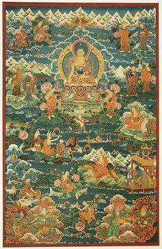 Tibetan Thangka - Buddha Life A thangka is a painting on silk with embroidery, usually depicting a Buddhist deity, scene, or mandala of some sort. Images of deities can be used as teaching tools when depicting the life (or lives) of the Buddha, describing historical events concerning important Lamas, or retelling myths associated with other deities.