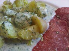 Kochen mit Giersch: Kartoffeln mit weiß-grüner Soße