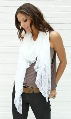 Inspiration // White Lace Scarf ♥ #scarf #shawl #lace #white #fashion #winter #ootd #fashion2013