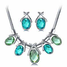 Charlee Cooper Ocean Heart Oval Crystal Jewellery Set