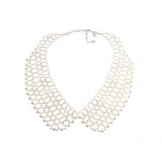 Add some pearly prettiness to your outfit with this season's hottest style, the 'Peter Pan' collar. Wear with a silky white blouse and a feminine skirt, perfect for work and play. Collar Necklace, Pearl Necklace, Sequin Top, Peter Pan, Girly, Feminine, Style Inspiration, Pearls, Diamond