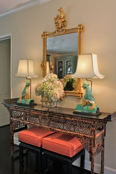 Hillary Thomas | Asian-inspired console table vignette _ <3 the coral upholstery