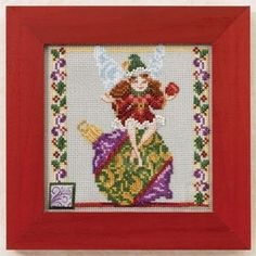 """JS301103 - Ornament Fairy Jim Shore (2011) - Mill Hill - Jim Shore Kits - Everyday Series Kit Includes: Beads, ceramic button, 14ct Forest Mist Aida, needles, floss, chart and instructions. Mill Hill frame GBFRM9 sold separately Size: 5"""" x 7"""""""