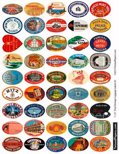 LUGGAGE LABELS, 1.5 inch OVALS, Vintage Worldwide and American Travel Stickers, Digital/Printable Collage Sheet 005.