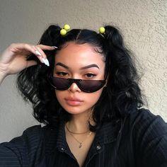 Semi Rimless Flat Top Sunglasses - Beauty Home Baddie Hairstyles, Cute Hairstyles, Creative Hairstyles, Latina Hairstyles, Side Curly Hairstyles, Quince Hairstyles, Easy Vintage Hairstyles, Relaxed Hairstyles, Black Girl Short Hairstyles