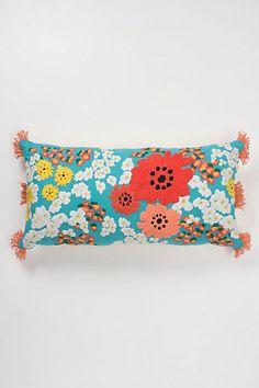 arbor tassel pillow, turquoise, front.