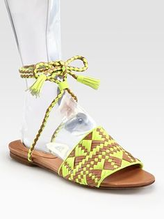 Rebecca Minkoff Sandals...love the touch of neon for spring