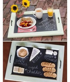 DIY Decorative Trays - Decorative Tray - Ideas of Decorative Tray - DIY Decorative Trays Tons of Ideas & Tutorials! Including this lovely diy chalkboard tray from 'so you think you are crafty'. Chalkboard Paint Kitchen, Diy Chalkboard, Chalkboard Drawings, Chalkboard Lettering, Kitchen Paint, Cabinet Door Crafts, Cabinet Doors, Diy Tableau Noir, Old Cabinets