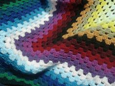 RAINBOW: Old grannie square crocheted baby or travel blanket – customised with your choice of colours. | Felt