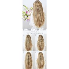 Half-up Boho Braids Hair Tutorial via Polyvore featuring accessories, hair accessories, boho hair accessories, braid crown, bohemian hair accessories and jeweled hair accessories