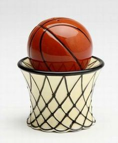"""Basketball and Hoop Net Salt & Pepper Shakers S/P by Appletree Designs Cosmos. $12.88. Measures 3"""" x 2.5"""" x 2.5"""". Ceramic. Basketball and Hoop Net Salt & Pepper Shakers S/P. Save 24% Off!"""